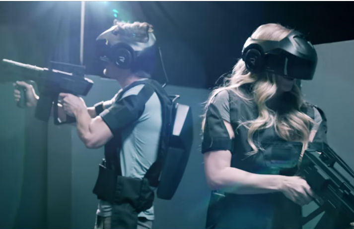 Playing in a virtual reality theme park