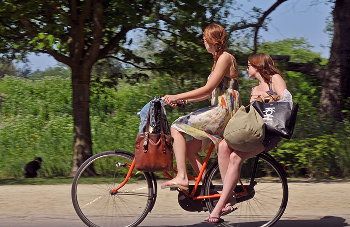 Hitching a ride on the back of a bike is a Dutch custom